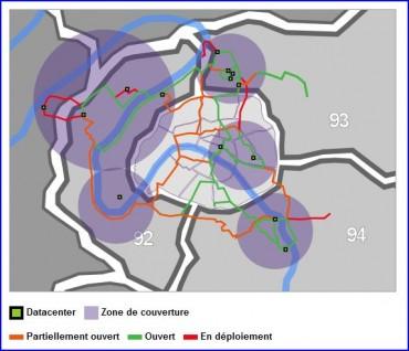 Carte de déploiement de la fibre noire de Sipertech