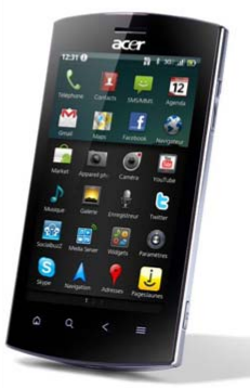 Acer Liquid Metal sous Android 2.2 Froyo