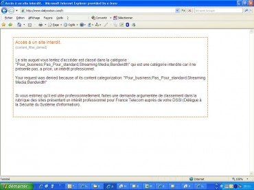 Capture d'écran depuis le réseau interne de France Télécom montrant que Dailymotion reste inaccessible aux salariés de l'opérateur.