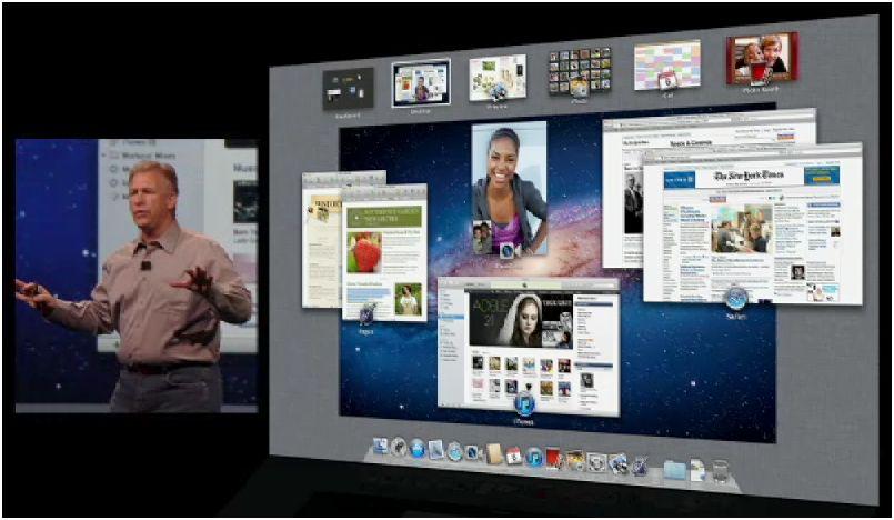 Apple Mac Lion,  fonction 'mission control'