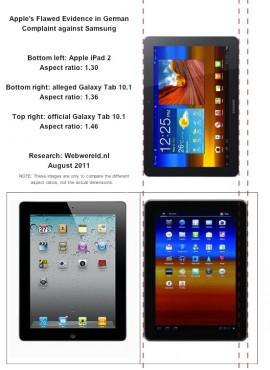 Les dimensions trompeuses de la Galaxy Tab 10.1 présentés par les Apple (selon Webwereld). Apples-Flawed-Evidence