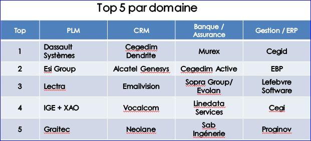 Editeurs logiciels le top 5 par domaine en France (source AFDEL)