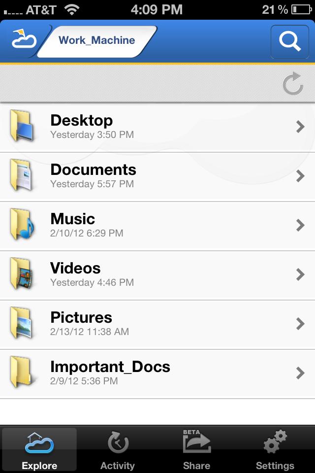 Pocketcloud Explore de Wyse sur iOS