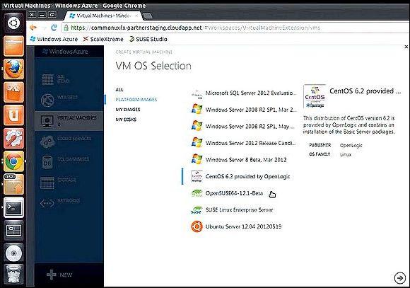 Microsoft offre IaaS sur cloud Azure, sélection de VM