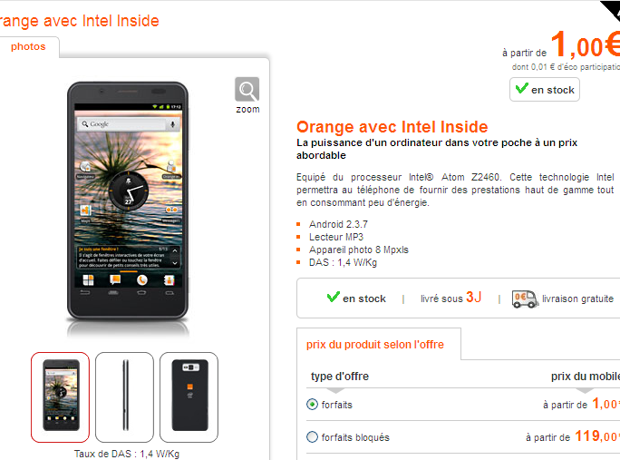 Le premier smartphone Intel Atom disponible chez Orange