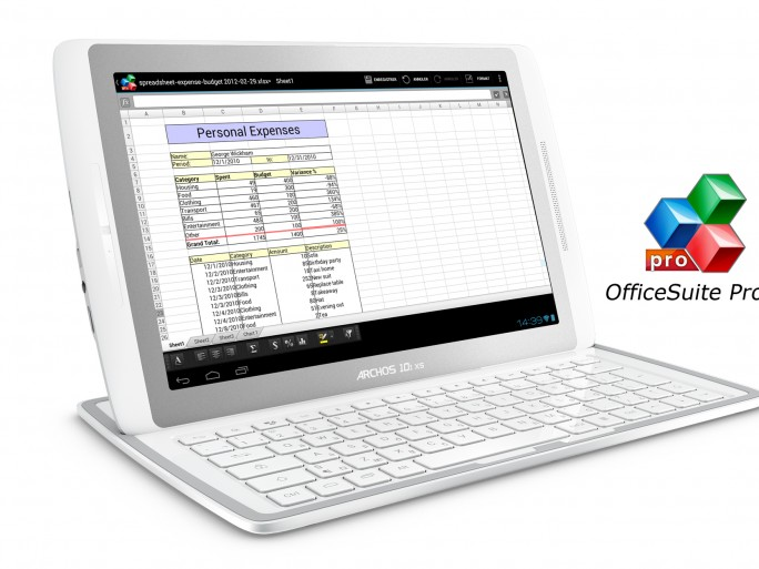 08 - Archos 101XS+Coverboard_ambiance with office suite pro6 logo © Archos