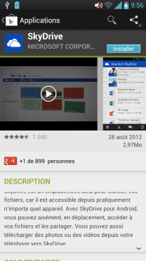 Skydrive for Android sur le Google Play