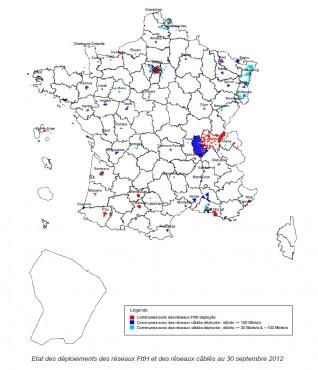 Arcep : déploiement de la fibre optique en France au 30 septembre 2012