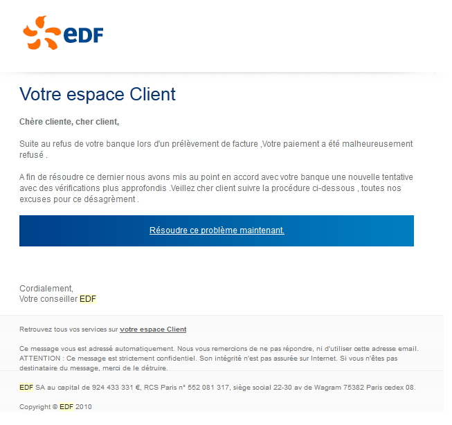 phishing edf alerte ses clients silicon. Black Bedroom Furniture Sets. Home Design Ideas