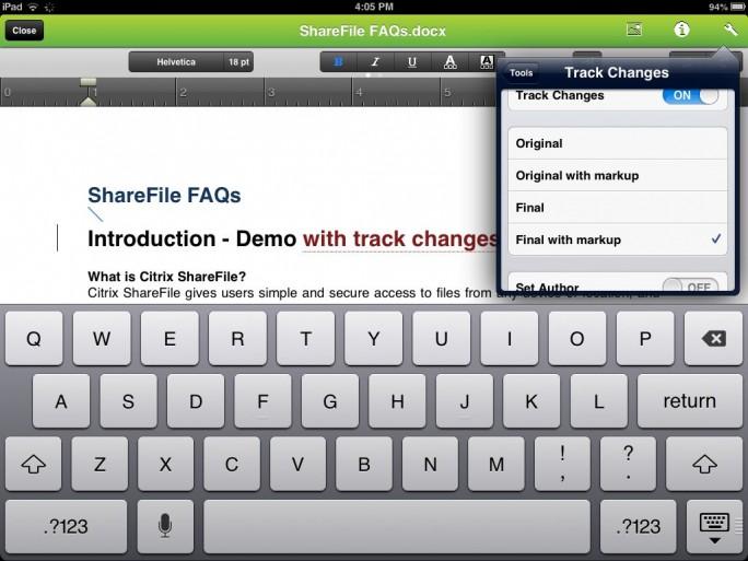 Citrix Sharefile intègre des fonctionnalité d'édition de documents Office