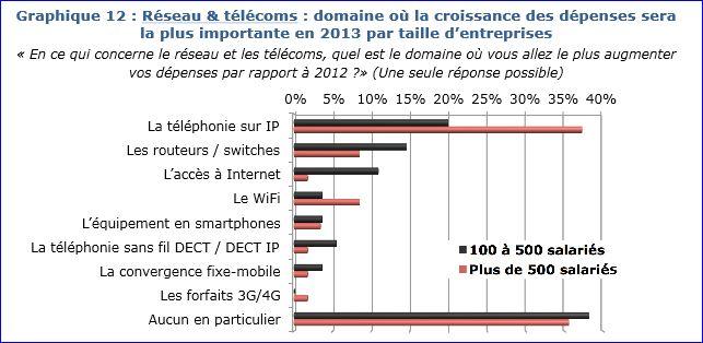 Etude dépenses IT 2013, Réseaux & Télécoms