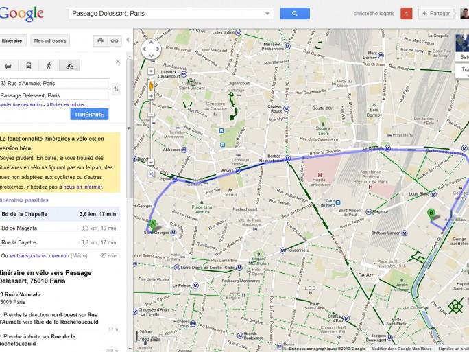 Les déplacements à bicyclette désormais proposé dans Google Maps France
