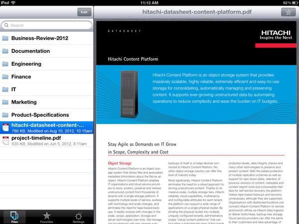 Ecran de Hitachi Content Platform Anywhere