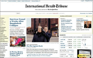 La Une du quotiden International Herald Tribune