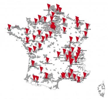 Objectif fin 2013 : 55 villes en 4G (en rouge) et des centaines en Dual Carrier HSPA (en gris).
