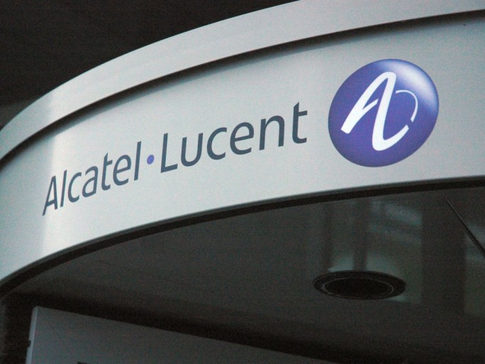Alcatel-Lucent logo fronton portique