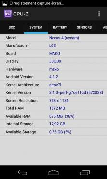 """""""Système"""" : SoC APQ8064 du Nexus 4"""