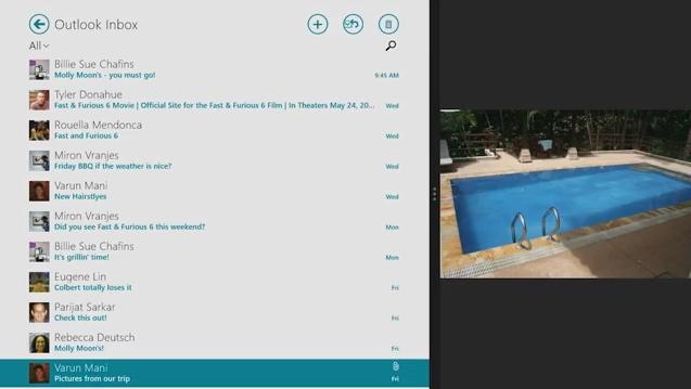 Windows 8.1 supporte Outlook 2013 pour les Surface