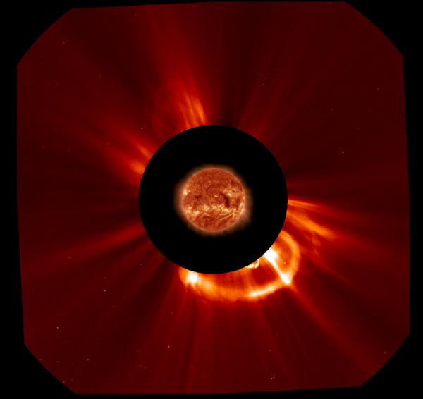 Photographie de l'éruption solaire «éjection de masse coronale» du mardi 20 août 2013