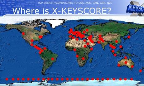 XKeyscore (PRISM) : carte de répartition