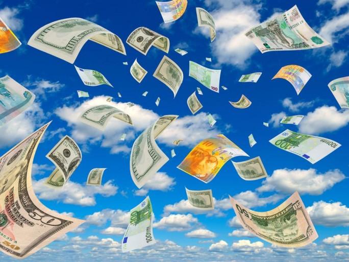pluie d'argent (euros, dollars)