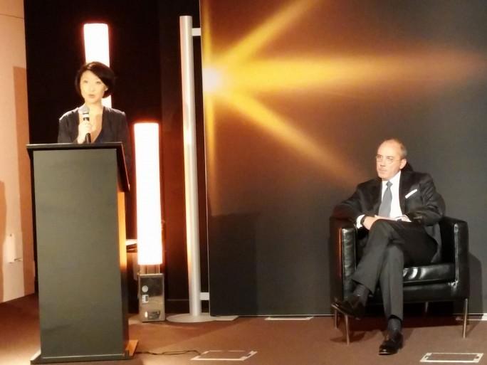 Stéphane Richard, Pdg d'Orange, et Fleur Pellerin, ministre de l'Economie numérique, conférence de presse Palaiseau 100% fibre