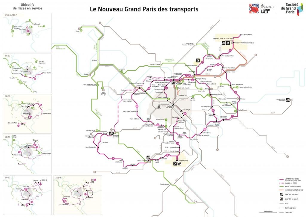 Tracé du Grand Paris Express à l'horizon 2030