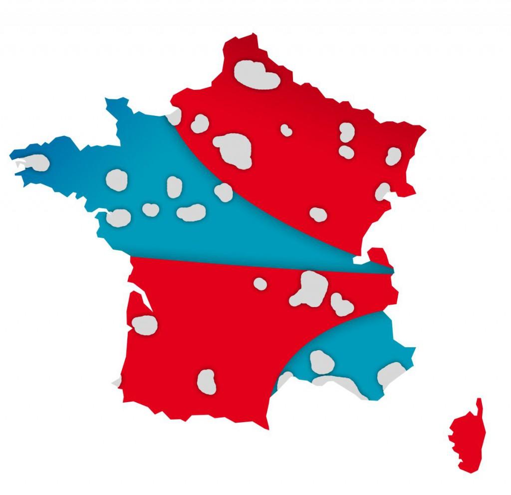 La carte la ma mutualisation des réseaux mobiles SFR (en rouge) et Bouygues Telecom (en bleu) selon les objectifs de 2017 (en gris, les agglomérations de plus de 200 000 abonnés, non convertes par l'accord de mutualisation).