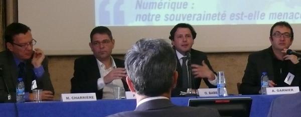 De gauche à droite : Marc Charrière (Alcatel-Lucent), Pascal Thomas (Mappy, Solocal), Olivier Babeau (Paris 8) et Alain Garnier (EFEL, Jamespot).