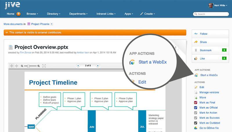 Capture d'écran de Jive avec les outils Cisco WebEx Meeting et Jabber intégrés.