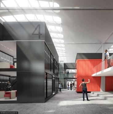Halle Freyssinet - aménagement container © Wilmotte & Associés SA