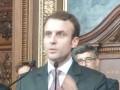 Emmanuel Macron, ministre de l'Economie, à la cérémonie de départ de Jean-Ludovic Silicani (Arcep)