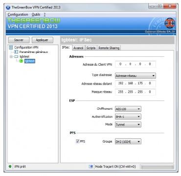 Capture d'écran du VPN de TheGreenBow
