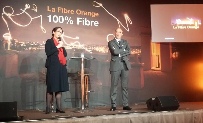 Delphine Ernotte (directrice générale) et Stéphane Richard (PDG) présentent le plan fibre pour la France.