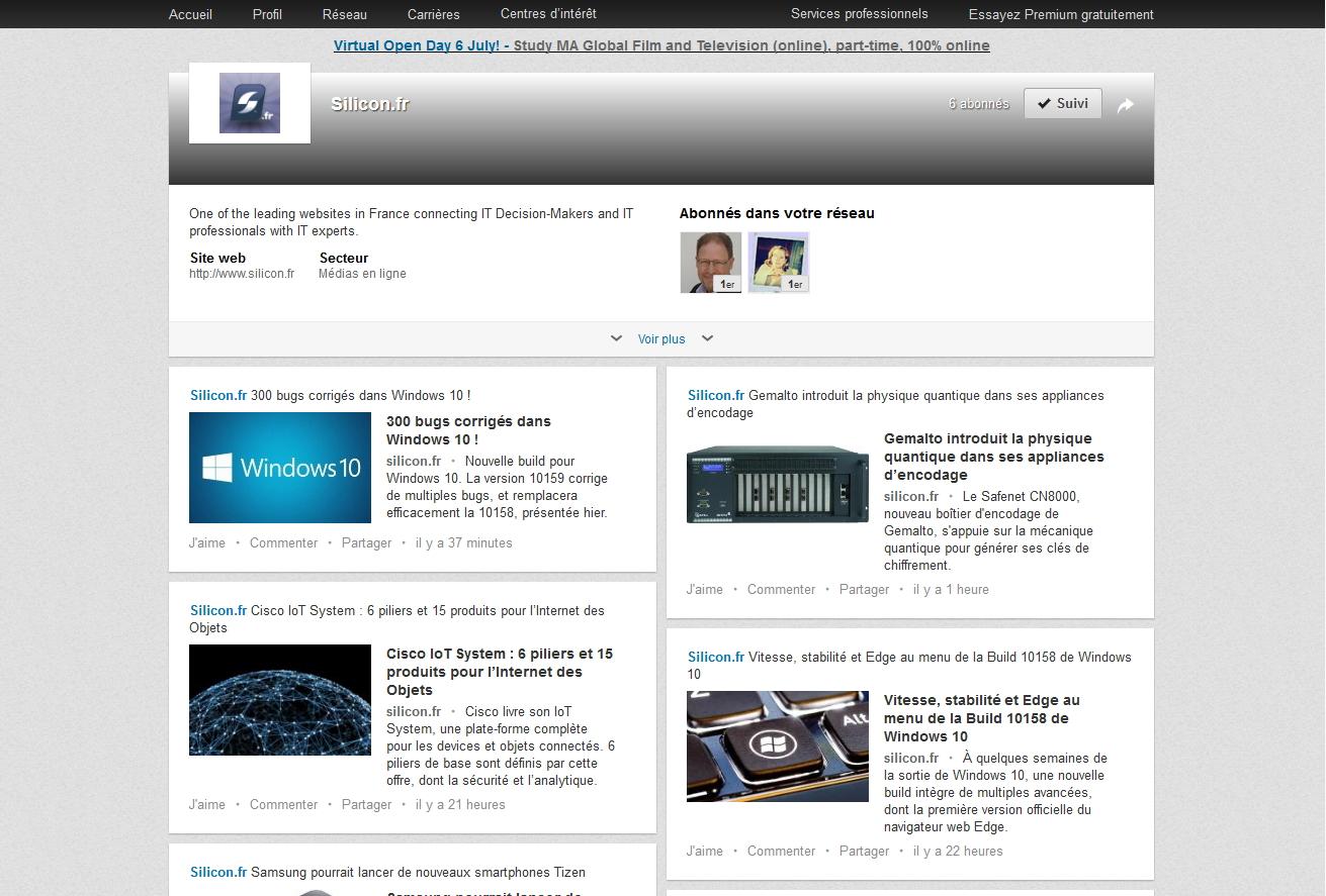 Rejoignez la page Silicon.fr sur Linkedin