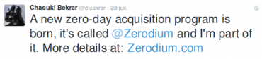 tweet @cBekrar sur @Zerodium 23.07.15