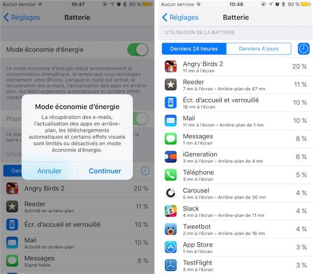 iOS 9-économie d'énergie