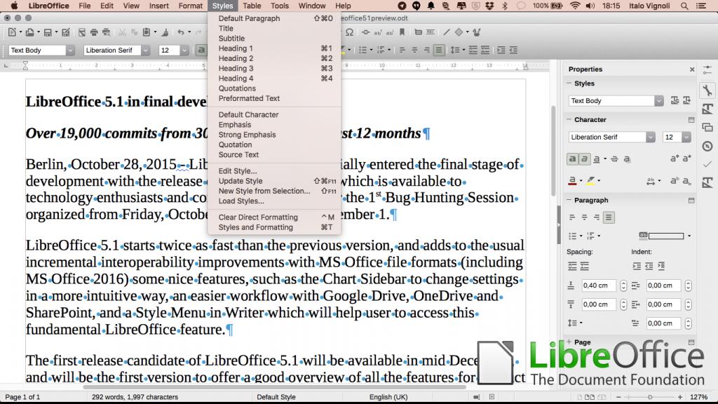 LibreOffice stylemenu