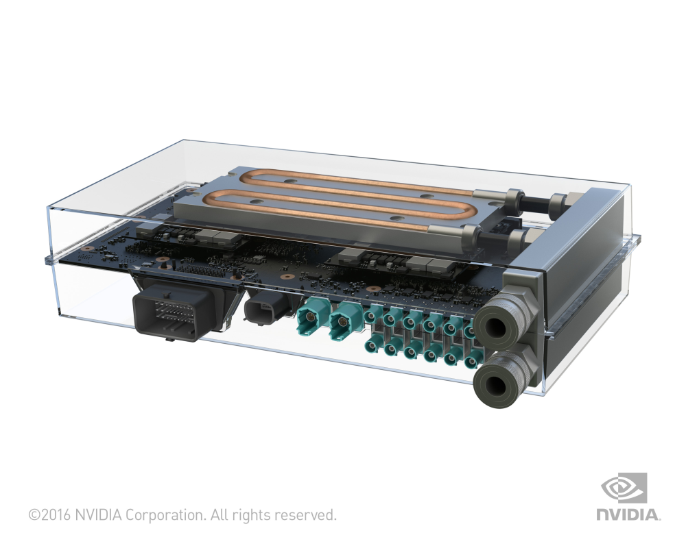Le Drive PX 2, un module embarqué d'une puissance de 8 Tflops au service de la voiture autonome (crédit photo Nvidia)
