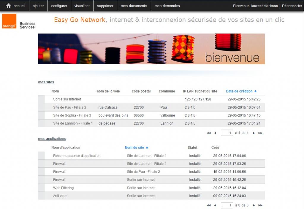 L'administration des fonctions réseau s'effectuent depuis un portail web par l'utilisateur.