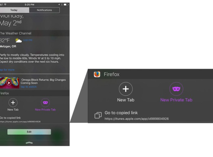 Firefox for iOS Widget