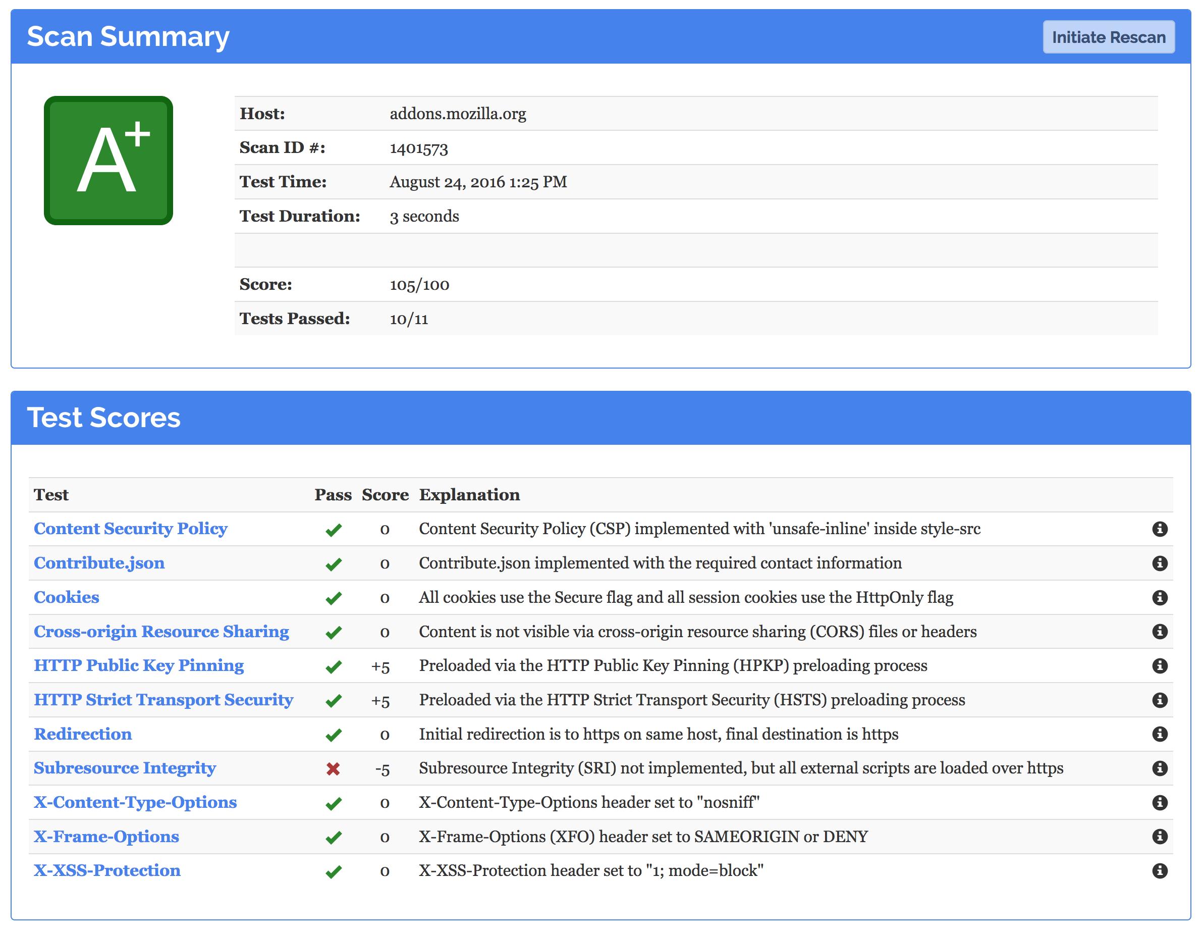 Un service signé Mozilla teste la sécurité de sites Web
