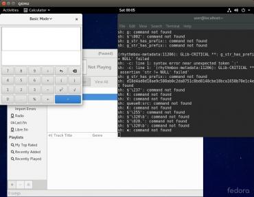 Capture d'écran montrant comment l'exploit a permis d'ouvrir le player rhythmbox et la calculatrice.