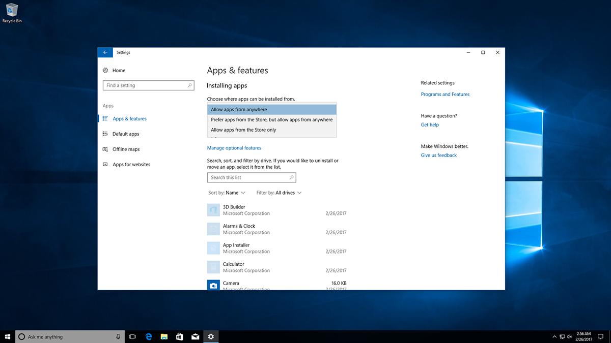 Windows 10 pourra bloquer l'installation d'applications de bureau