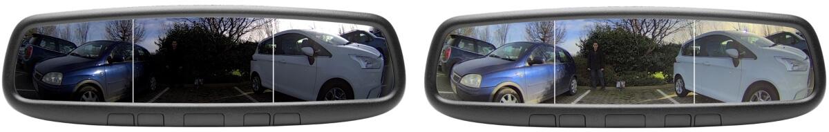 A gauche, rendu sans traitement dynamique de luminosité, à droite avec, permet de distinguer les piétons dans la pénombre.