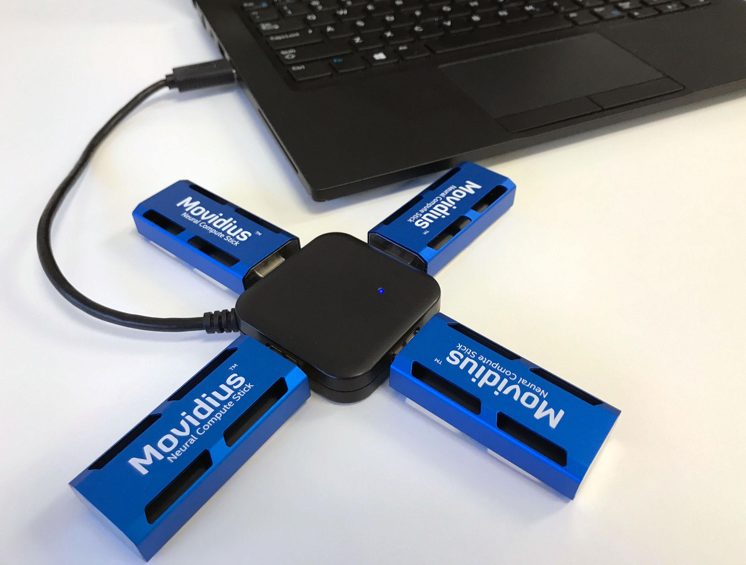 La clé Movidius Neural Compute Stick propose 100 gigaflops de puissance de calcul en demi-précision pour seulement 1 W de consommation.