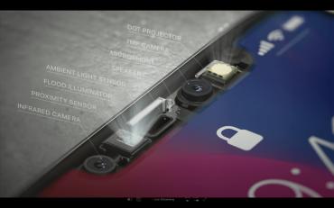 Les trois composants de True Depth Camera dans la barre de capteurs frontaux de l'iPhone X.