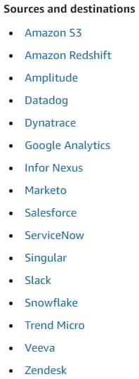 Amazon AppFlow sources destinations