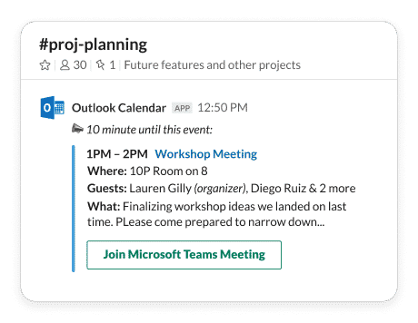 Slack Teams Outlook