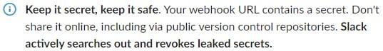 Slack webhooks entrants URL